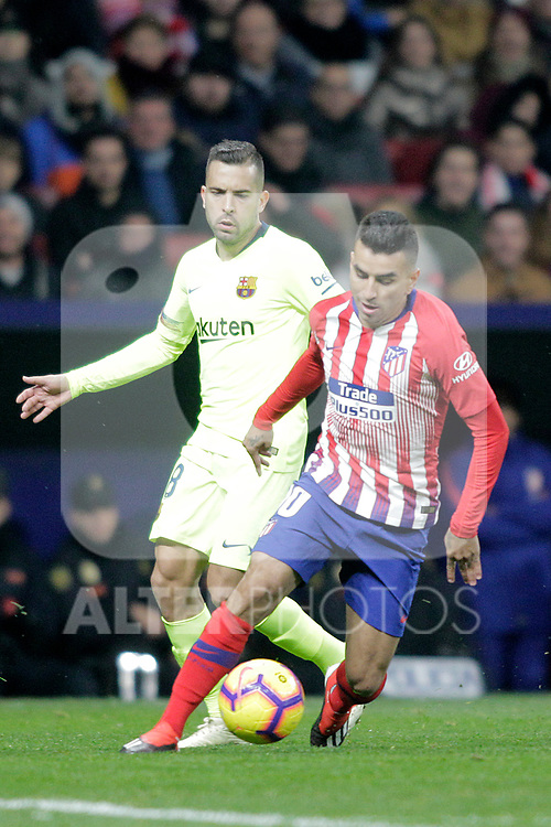 Club Atletico de Madrid's Angel Correa and Futbol Club Barcelona's Arthur Melo  during La Liga match. November 24,2018. (ALTERPHOTOS/Alconada)