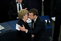 Emmanuel Macron; Angela Merkel<br /> STRASBOURG, FRANCE - JULY 01: The guard of honor carrie the coffin of former German Chancellor Helmut Kohl draped with a flag of the European Union out of the memorial ceremony at the European Parliament on July 1, 2017 in Strasbourg, France. Kohl was chancellor of Germany for 16 years and led the country from the Cold War through to reunification. He died on June 16 at the age of 87. <br /> Foto Elyxandro Cegarra / Panoramic / Insidefoto <br /> ITALY ONLY