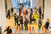 The Uniqlo store on Fifth Avenue in New York on Thursday, March 24, 2016 featuring the collaboration between Uniqlo and Liberty London, a company known mostly for its distinctive floral patterned fashions. (©Richard B. Levine)