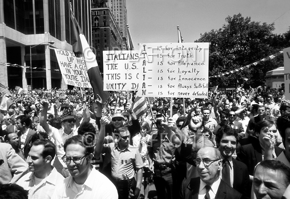 "Manhattan, New York City, NY - June 29th, 1970. More than 150,000 people attended the ""Italian-American Unity Day Rally"" held in Manhattan's Columbus Circle. The new ""Italian American Civil Rights League"" began a campaign to stop using the word ""Mafia"" in official NY documents."