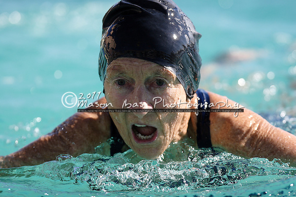 75 year old Evalyn Sprowl competes in the swimming competition during the 2007 Senior Olympic Festival January 25th in Tucson, Arizona.