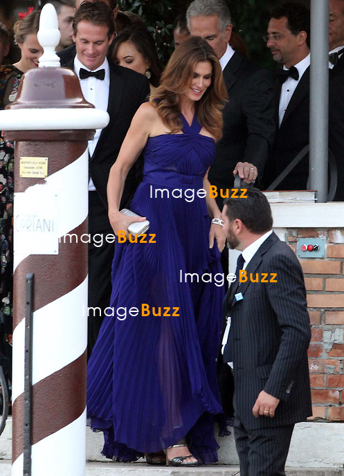 Cindy Crawford &amp; Rande Geber - GEORGE CLOONEY &amp; AMAL ALAMUDDIN WEDDING CEREMONY AT THE AMAN RESORTS HOTEL IN VENICE - <br /> George Clooney &amp; British fiancee Amal Alamuddin and guests on taxi boat on the Grand Canal on their way to the seven-star Aman Hotel for the wedding celebrations.<br /> Robert De Niro, Matt Damon, Brad Pitt and Cate Blanchett were among the other stars, like Cindy Crawford, Rande Geber, Bill Murray, Emily Blunt.<br /> Italy, Venice, 27 September, 2014.