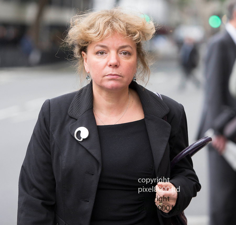 Pics shows;  Coroner Fiona Wilcox arrives at the inquest of   former model Eva Rhodes murdered  in Hungary --<br /> <br /> <br /> <br /> Inquest today in the death of the former model in Hungary <br /> at Westminster Coroners' Court London<br /> <br /> Daughter of former beauty queen and London socialite Eva Rhodes believes a Hungarian policeman had a motive for her murder, an inquest heard<br /> <br /> The daughter of former British model Eva Rhodes believes a Hungarian policeman had a motive to get rid of her mother and organised her murder with the man convicted of the killing, an inquest heard.<br /> <br /> <br /> Mrs Rhodes, a friend of John Lennon, disappeared in September 2008 and was originally classed as a &ldquo;missing person&rdquo; despite her relatives saying she had been robbed and murdered. Her body was found in woods near her home near Gyor, 65-miles from Budapest in 2009, and her caretaker Csaba Augusztinyi admitted killing her<br /> <br /> <br /> <br /> <br /> Pic by Pixel 8000 Ltd