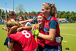 NIJMEGEN -  Vreugde bij Grace Huberts (Huizen) en Gitte Michels (Huizen)    na   de tweede play-off wedstrijd dames, Nijmegen-Huizen (1-4), voor promotie naar de hoofdklasse.. Huizen promoveert naar de hoofdklasse.  COPYRIGHT KOEN SUYK