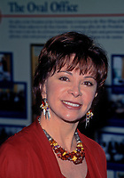 Washington, DC. USA, February 26, 1997<br /> Isabel Allende arrives at the White House to attend a State dinner for the President of Chile.<br /> Allende is a Chilean-American writer. Allende, whose works sometimes contain aspects of the &quot;magic realist&quot; tradition, is famous for novels such as The House of the Spirits (La casa de los esp&iacute;ritus, 1982) and City of the Beasts (La ciudad de las bestias, 2002), which have been commercially successful. Credit: Mark Reinstein/MediaPunch