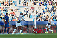 27th October 2019; Estadi Cuitat de Valencia, Valencia, Spain; La Liga Football, Levante versus Espanyol; Naldo of RC Espanyol celebrates with Marc Roca of RC Espanyol after the first goal of the game scored by Bernardo Espinosa of RC Espanyol  goal for his team in minute 38' - Editorial Use