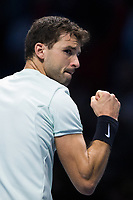 Grigor Dimitrov of Bulgaria (6) celebrates a point during his victory over Dominic Thiem of Austria (4) in their Pete Sampras group match today - Dimitrov def Thiem 6-3, 5-7, 7-5<br /> <br /> Photographer Craig Mercer/CameraSport<br /> <br /> International Tennis - Nitto ATP World Tour Finals - O2 Arena - London - Day 2  - Monday 13th November 2017<br /> <br /> World Copyright &copy; 2017 CameraSport. All rights reserved. 43 Linden Ave. Countesthorpe. Leicester. England. LE8 5PG - Tel: +44 (0) 116 277 4147 - admin@camerasport.com - www.camerasport.com