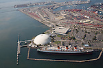 Aerial view of the Queen Mary and Queen Mary Dome/Long Beach Cruise Terminal and the Port of Long Beach from the airship Eureka.