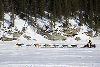 Jeff King on Fish River just after leaving @ White Mountain chkpt in 1st place 2006 Iditarod Alaska