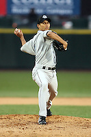 April 11th 2008: Pitcher Davis Romero of the Syracuse Chiefs, Class-AAA affiliate of the Toronto Blue Jays, during a game at Frontier Field in Rochester, NY.  Photo by Mike Janes/Four Seam Images