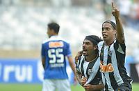 BELO HORIZONTE, MG, 3 FEVEREIRO 2013 - CAMPEONATO MINEIRO 2013 - CRUZEIRO x ATLETICO - Reabertura do Mineirao, um dos estadios para a Copa do Mundo 2014 e Copa das Confederacoes 2013 no Brasil. Na foto, Araujo, do Aletico, comemora gol marcado contra o Cruzeiro durante a partida entre, Cruzeiro e Atletico, valida pela 1 rodada do Campeonato Mineiro 2013, no Estadio Mineirao, em Belo Horizonte MG. (FOTO: DOUGLAS MAGNO / BRAZIL PHOTO PRESS).