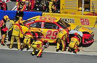 Apr 26, 2009; Talladega, AL, USA; NASCAR Sprint Cup Series driver Kevin Harvick pits during the Aarons 499 at Talladega Superspeedway. Mandatory Credit: Mark J. Rebilas-