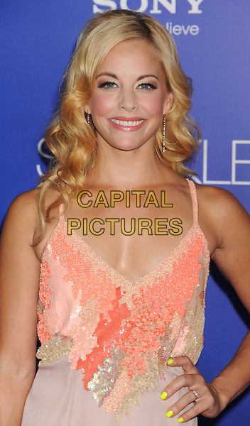 Amy Pathrath.World Premiere of 'SPARKLE' held at The Grauman's Chinese Theatre in Hollywood, California, USA..August 16th, 2012.half length beige pink sequins sequined yellow nail varnish polish hand on hip dress  .CAP/ROT/TM.©Tony Michaels/Roth Stock/Capital Pictures
