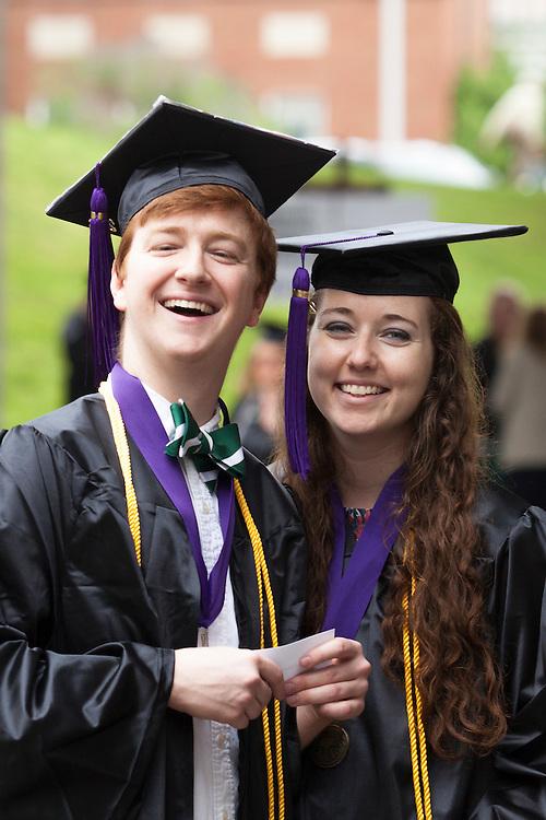 Sam Howard, left, and Olivia Hitchcock before Undergraduate Commencement. ©Ohio University/ Photo by Kaitlin Owens