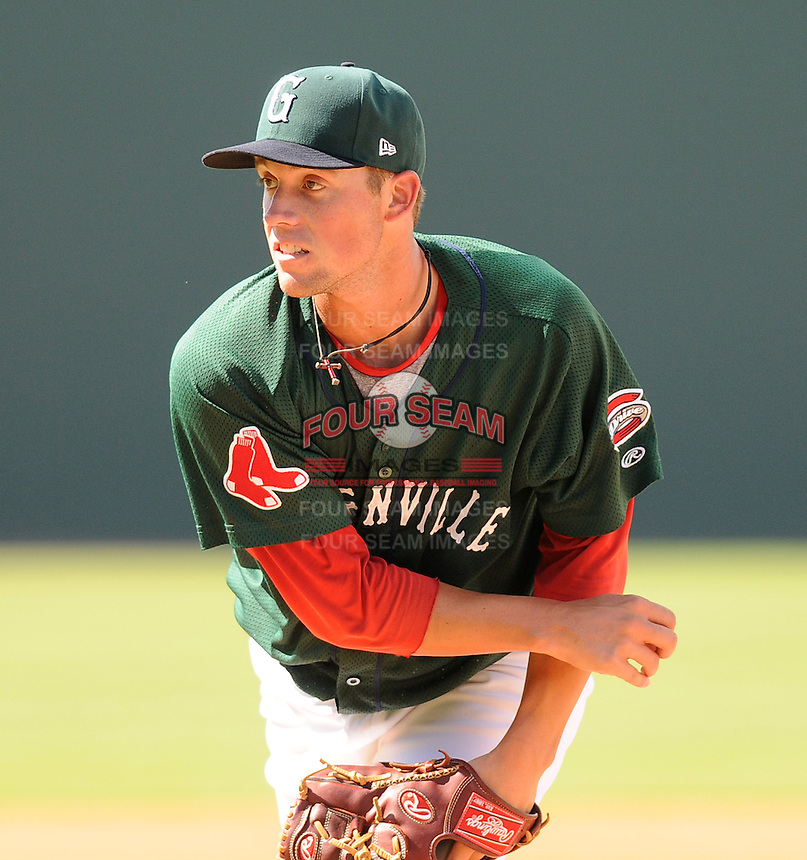 Pitcher Matty Ott (22) of the Greenville Drive in a game against the Lexington Legends on July 22, 2012, at Fluor Field at the West End in Greenville, South Carolina. (Tom Priddy/Four Seam Images)