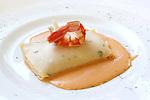 Crep farcit de marisc sobre salsa mantua. Crep relleno de marsico sobre salsa Mantua. Crepe stuffed with seafood.<br /> Krepp gef&uuml;llt mit Meeresfr&uuml;chten. <br /> ????, ????????????? ??????????????.