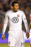 DC United forward Andy Najar looks for the ball. CD Chivas USA beat DC United 1-0 at Home Depot Center stadium in Carson, California on Sunday August 29, 2010.