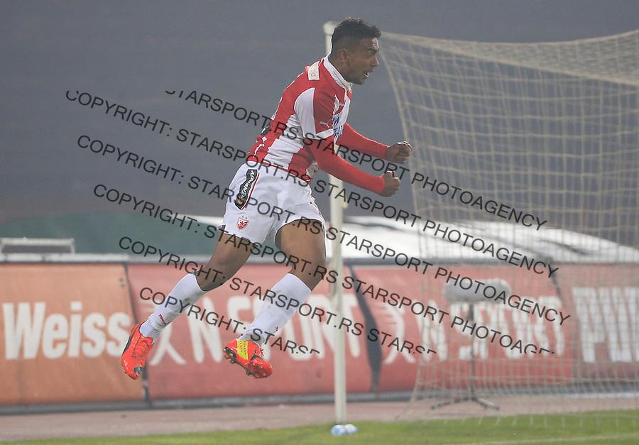 Fudbal Jelen Super League season 2015-2016<br /> Crvena Zvezda v Metalac<br /> Bruno Oliveira de Matos celebrates scoring a goal<br /> Beograd, 07.11.2015.<br /> foto: Srdjan Stevanovic/Starsportphoto&copy;