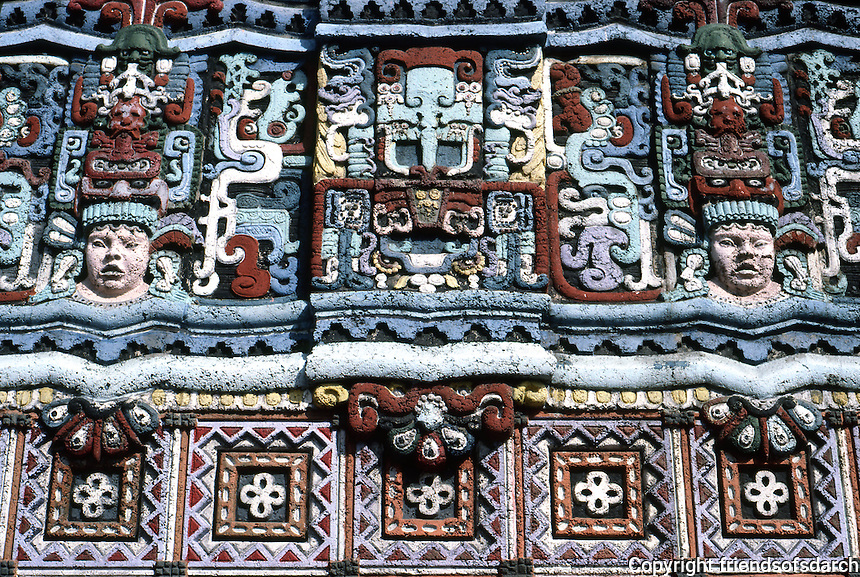 Los Angeles: Mayan Theater--detail of sculpture. (Originally a light grey concrete color.) Photo '88.