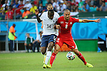 (L to R) <br /> Blaise Matuida (FRA), <br /> Gokhan Inler (SUI), <br /> JUNE 20, 2014 - Football /Soccer : <br /> 2014 FIFA World Cup Brazil <br /> Group Match -Group E- <br /> between Switzerland 2-5 France <br /> at Arena Fonte Nova, Salvador, Brazil. <br /> (Photo by YUTAKA/AFLO SPORT) [1040]