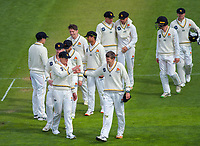 The Firebirds walk off after dismissing Otago for 199 on day one of the Plunket Shield cricket match between the Wellington Firebirds and Otago Volts at Basin Reserve in Wellington, New Zealand on Monday, 21 October 2019. Photo: Dave Lintott / lintottphoto.co.nz