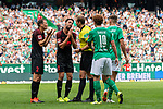 01.09.2019, wohninvest WESERSTADION, Bremen, GER, 1.FBL, Werder Bremen vs FC Augsburg<br /> <br /> DFL REGULATIONS PROHIBIT ANY USE OF PHOTOGRAPHS AS IMAGE SEQUENCES AND/OR QUASI-VIDEO.<br /> <br /> im Bild / picture shows<br /> Stephan Lichtsteiner (FC Augsburg #02) sieht Gelb-rote Karte von Sören Storks (Schiedsrichter / referee) nach Foulspiel an Niclas Füllkrug / Fuellkrug (Werder Bremen #11), <br /> Stephan Lichtsteiner (FC Augsburg #01) und Rani Khedira (FC Augsburg #08) bitten Sören Storks (Schiedsrichter / referee) um Gnade oder Nachsicht wg. Ermahnung nach Foulspiel, <br /> <br /> Foto © nordphoto / Ewert