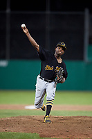 West Virginia Black Bears relief pitcher Juan Henriquez (58) delivers a pitch during a game against the Batavia Muckdogs on July 2, 2018 at Dwyer Stadium in Batavia, New York.  West Virginia defeated Batavia 3-1.  (Mike Janes/Four Seam Images)