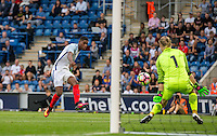 Marcus Rashford (Manchester United) of England fires a shot at goal during the International EURO U21 QUALIFYING - GROUP 9 match between England U21 and Norway U21 at the Weston Homes Community Stadium, Colchester, England on 6 September 2016. Photo by Andy Rowland / PRiME Media Images.