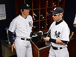 (L-R)  Hideki Matsui, Ichiro Suzuki (Yankees),<br /> FEBRUARY 27, 2014 - MLB :<br /> New York Yankees' Ichiro Suzuki and guest instructor Hideki Matsui are seen in the dugout during a spring training baseball game against the Pittsburgh Pirates at George M. Steinbrenner Field in Tampa, Florida, United States. (Photo by AFLO)