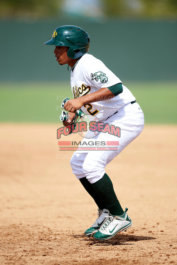 Oakland Athletics minor league infielder Melvin Mercedes #2 during an instructional league game against the Arizona Diamondbacks at the Papago Park Baseball Complex on October 11, 2012 in Phoenix, Arizona. (Mike Janes/Four Seam Images)