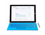 Microsoft Surface Pro 3 tablet computer with DOW stock market chart on displayisolated on white background