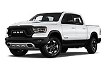 Stock pictures of low aggressive front three quarter view of a 2019 Ram 1500 Rebel 4 Door Pick Up