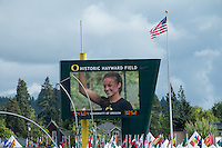 Laura Roesler is seen on the videoboard after receiving her 1st-place trophy in the 800-meters at the 2014 NCAA Division I Outdoor Track and Field Championships in Eugene, Or. Friday, June 13.