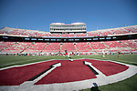 Wisconsin Badgers warm up prior to an NCAA College Football game against the Florida Atlantic Owls Saturday, September 9, 2017, in Madison, Wis. The Badgers won 31-14. (Photo by David Stluka)