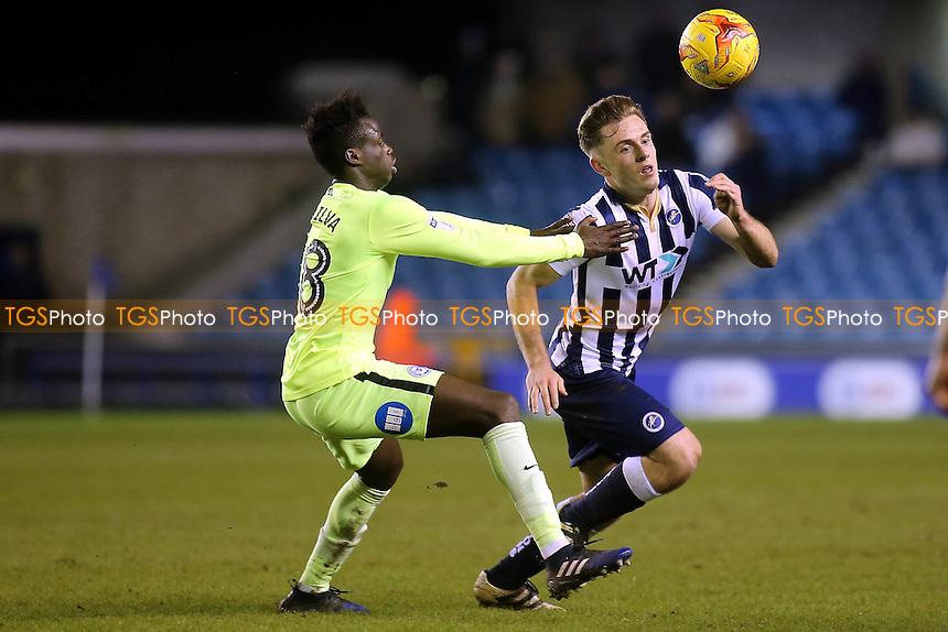Millwall's Ben Thompson takes the ball past Leonardo Da Silva Lopes of Peterborough during Millwall vs Peterborough United, Sky Bet EFL League 1 Football at The Den on 28th February 2017