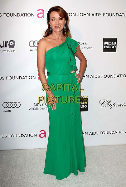 Jane Seymour.The 21st Annual Elton John AIDS Foundation Academy Awards Viewing Party held at The City of West Hollywood Park in West Hollywood, California, USA..February 24th, 2013.oscars full length green one shoulder dress hand on hip .CAP/ADM/KB.©Kevan Brooks/AdMedia/Capital Pictures.