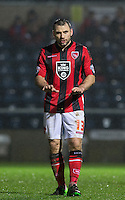 Alan Goodall of Morecambe calms his team down during the Sky Bet League 2 match between Wycombe Wanderers and Morecambe at Adams Park, High Wycombe, England on 2 January 2016. Photo by Andy Rowland / PRiME Media Images