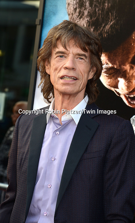 """producer Mick Jagger attends the World Premiere of """"Get On Up"""" at the Apollo Theater in Harlem in New York Citiy on July 21, 2014."""