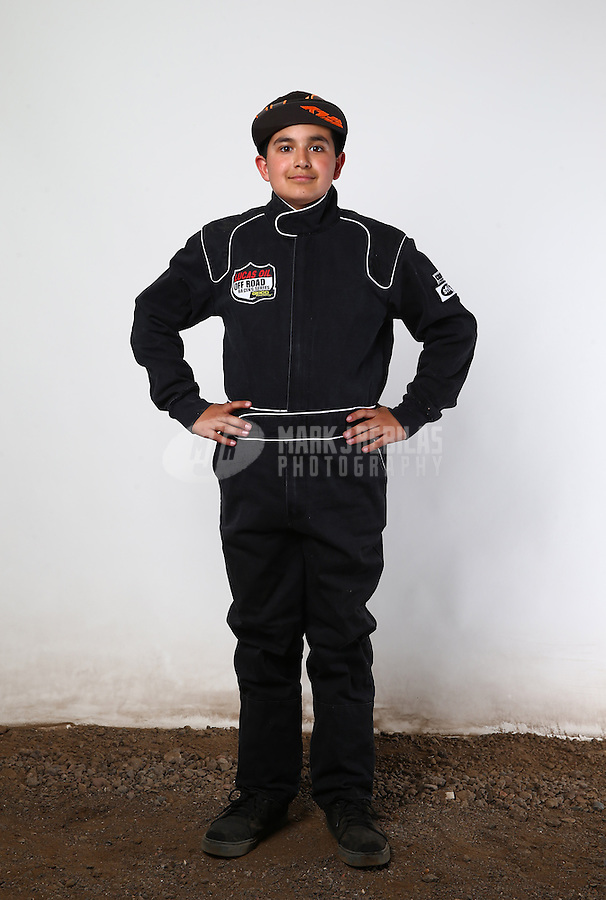 Mar. 21, 2014; Chandler, AZ, USA; LOORRS modified kart driver Nathan Barry poses for a portrait prior to round one at Wild Horse Motorsports Park. Mandatory Credit: Mark J. Rebilas-USA TODAY Sports