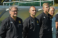 20190910 - TUBIZE , BELGIUM : Belgian assistant coach Thomas Buffel (M) pictured together with head coach Jacky Mathijssen (L) and goalkeeper coach Pieter Jan Sabbe (R) during his first match as new assistant coach in the friendly  soccer match between Men's under 19 teams of  Belgium and Czech Republic , in Tubize , Belgium . Tuesday 10th September 2019 . PHOTO SPORTPIX.BE / DIRK VUYLSTEKE