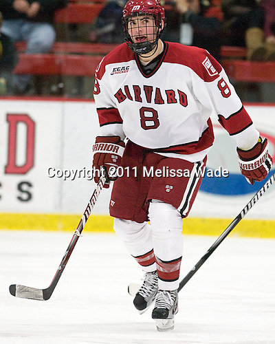 Patrick McNally (Harvard - 8) - The Harvard University Crimson defeated the visiting Colgate University Raiders 4-2 on Saturday, November 12, 2011, at Bright Hockey Center in Cambridge, Massachusetts.