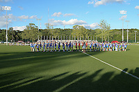 Kansas City, MO - Saturday May 28, 2016: The teams line up for the playing of the national anthem. FC Kansas City defeated Orlando Pride 2-0 during a regular season National Women's Soccer League (NWSL) match at Swope Soccer Village.