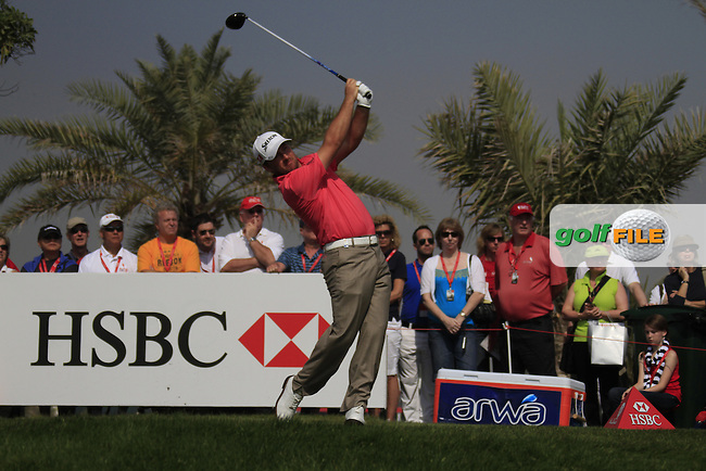 Graeme McDowell (NIR) in action on the 2nd tee during Saturday's Round 3 of the HSBC Golf Championship at the Abu Dhabi Golf Club, United Arab Emirates, 28th January 2012 (Photo Eoin Clarke/www.golffile.ie)