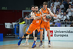 Real Madrid Rudy Fernandez and Valencia Basket Joan Sastre and Aaron Doornekamp during Liga Endesa match between Real Madrid and Valencia Basket at Wizink Center in Madrid , Spain. March 25, 2018. (ALTERPHOTOS/Borja B.Hojas)