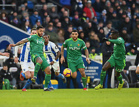 Watford's Andre Gray (left) <br /> <br /> Photographer David Horton/CameraSport<br /> <br /> The Premier League - Brighton and Hove Albion v Watford - Saturday 2nd February 2019 - The Amex Stadium - Brighton<br /> <br /> World Copyright © 2019 CameraSport. All rights reserved. 43 Linden Ave. Countesthorpe. Leicester. England. LE8 5PG - Tel: +44 (0) 116 277 4147 - admin@camerasport.com - www.camerasport.com