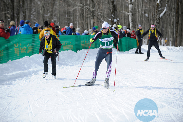 9 MAR 2011: Skiers compete in the men's 10km freestyle cross country race during the 2011 NCAA Men and Women's Division I Skiing Championship held Stowe Mountain Resort and Trapp Family Lodge in Stowe, VT. ©Brett Wilhelm/NCAA Photos