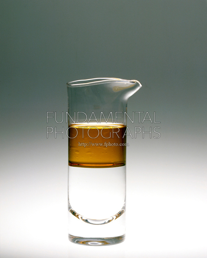 IMMISCIBILITY: OIL AND WATER SEPARATION (2 of 2)<br /> The inability of two or more substances or liquids to readily dissolve into one another, such as oil and water.