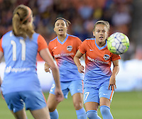 Andressa (17) of the Houston Dash eyes a loose ball in the first half against the Chicago Red Stars on Saturday, April 16, 2016 at BBVA Compass Stadium in Houston Texas.