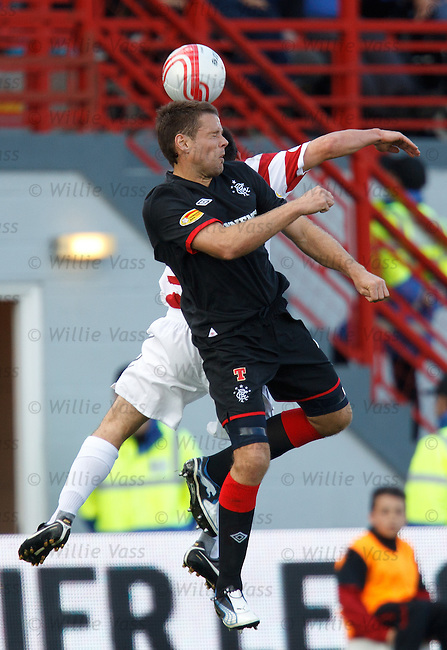 James Beattie wins a header