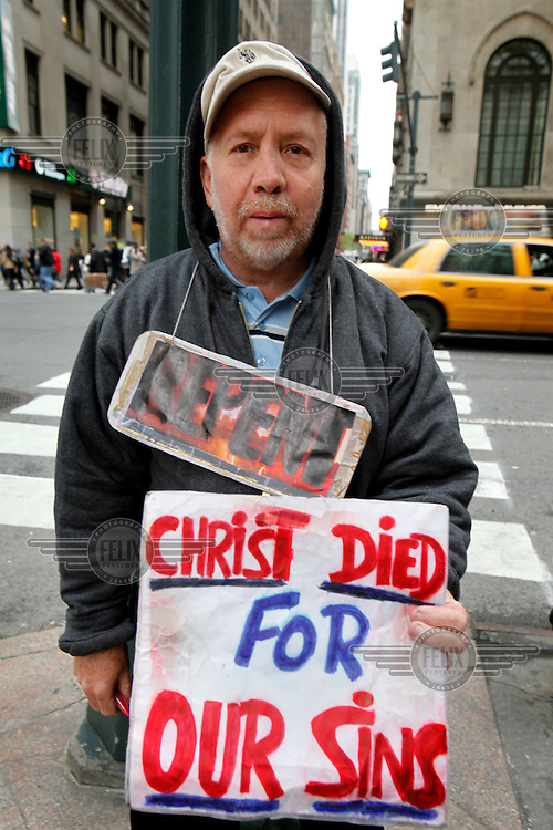 A street preacher on the streets of New York.